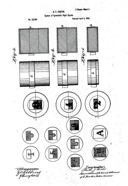 Figures from Martha Coston's 1859 US Patent 23,356 for pyrotechnic night signals