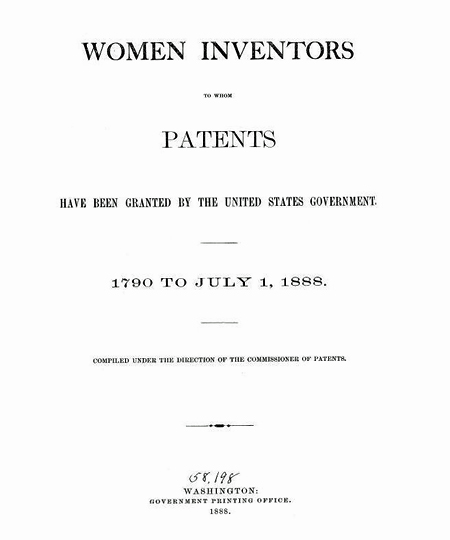 Text-only Frontispiece to Women Inventors to Whom Patents Have Been Granted, 1888