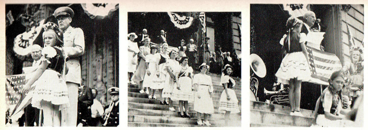 3 photos in a row from Charles Eisler ambulance donation ceremony, Newark, New Jersey, 1943. Left: A young girl in traditional Hungarian dress. Center: Women in traditional Hungarian dress on the steps of City Hall. Right: Eisler presenting the donation