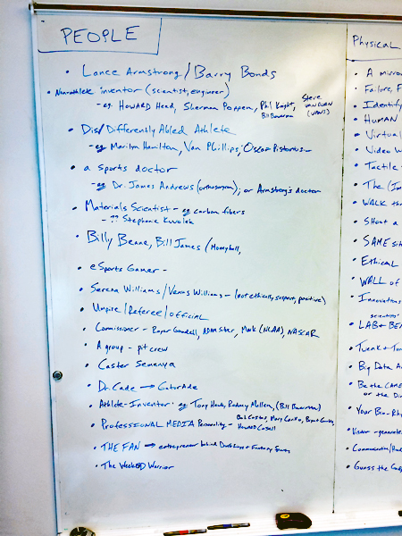 A large whiteboard is covered with blue writing. The left panel is labeled People and is a bulleted list of names, including Lance Armstrong, Serena and Venus Williams, and Tony Hawk, as well as non-specific labels such as fan, esports gamer, and pit crew. The right panel is only partially visible in the photo and cannot be read accurately.
