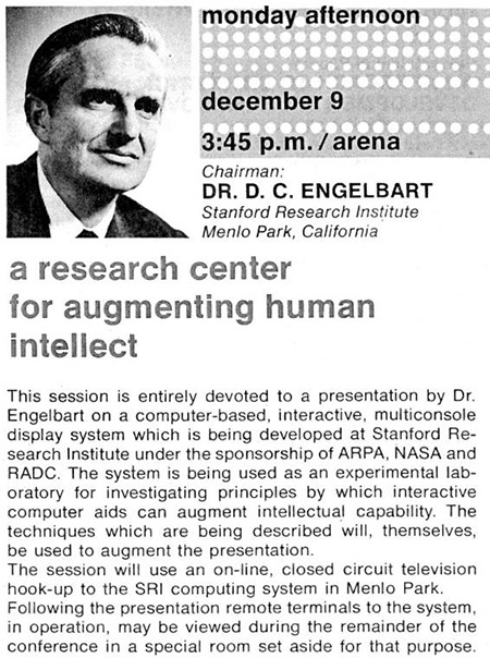 "A poster for Engelbart's demo at 3:35 p.m. on 9 December 1968. A head-and-shoulders portrait photo of Engelbart is at the upper left. The text reads, in part, ""The session will use an on-line, closed circuit television hook-up to the SRI computing system in Menlo Park. Following the presentation remote terminals to the system, in operation, may be viewed."""