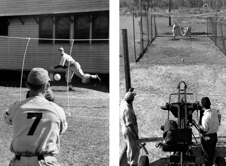 Stings delineating strike zone (left) and pitching machine in batting cage (right)