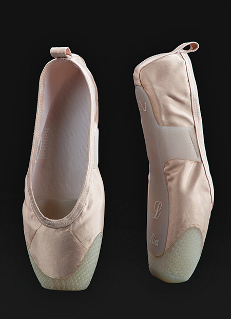 A pair of 3D-printed pointe shoes.