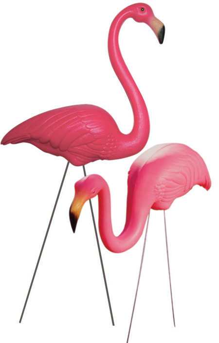 Two plastic pink flamingos