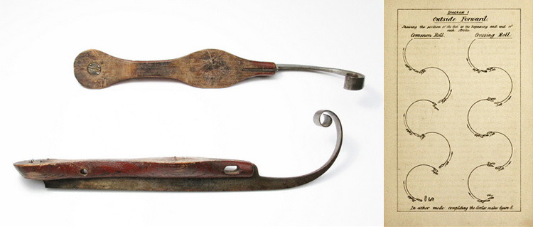 Composite image with wooden skates on the left and a page of simple figures on the right.