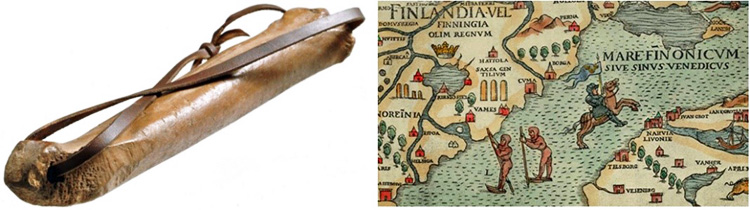 Composite image of a simple skate on the left with a medieval map of Finland on the right