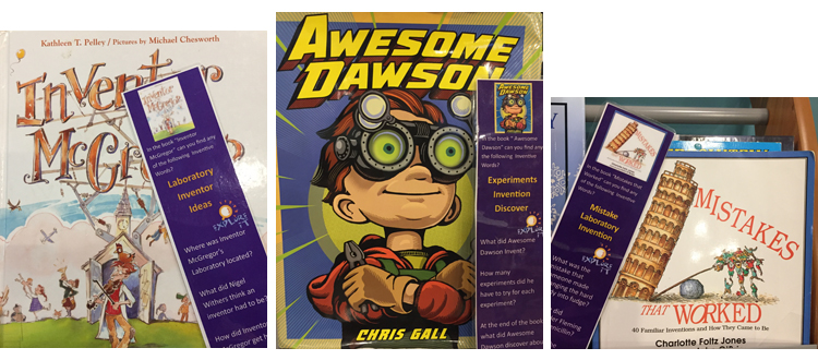 Covers and bookmarks for Inventor McGregor, Awesome Dawson, and Mistakes that Worked