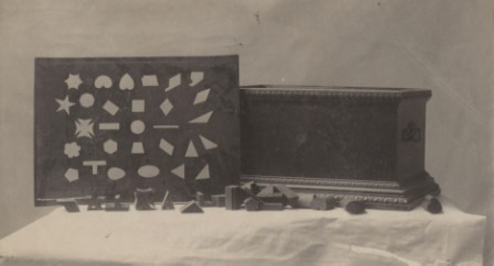 Photograph, wooden sorting box, circa 1900.