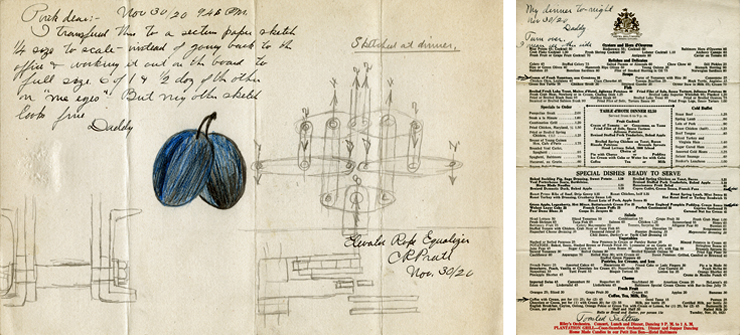 Pratts sketch (on the left) of his elevator rope equalizer on a Hotel Baltimore menu (right), dated 30 November 1920