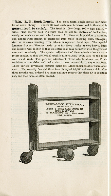 Illustration and description of the L.B. book truck, from the Library Bureau Catalog, 1885