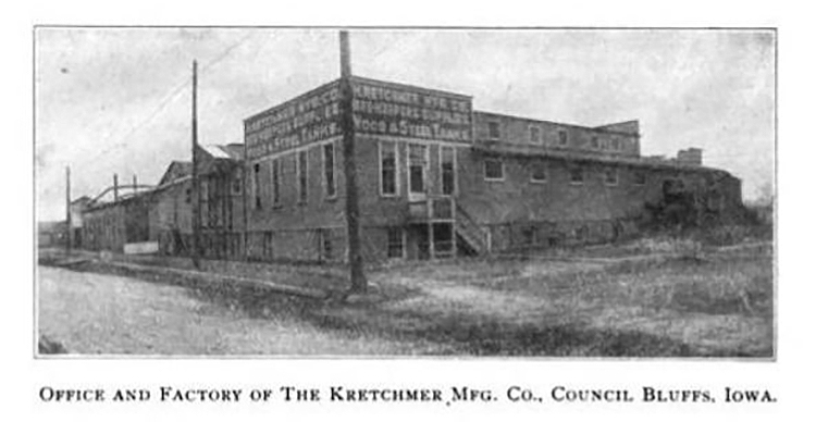Exterior of the Kretchmer factory, a single story building with a basement