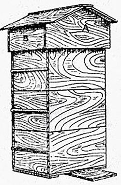 Pen-and-ink drawing of a tall, rectangular beehive with sliding drawers.