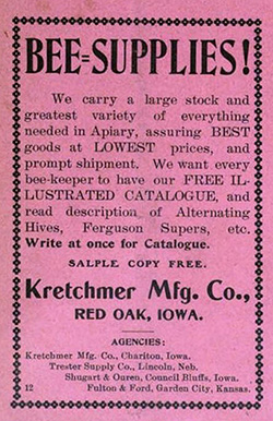 Kretchmer company print ad for bee supplies