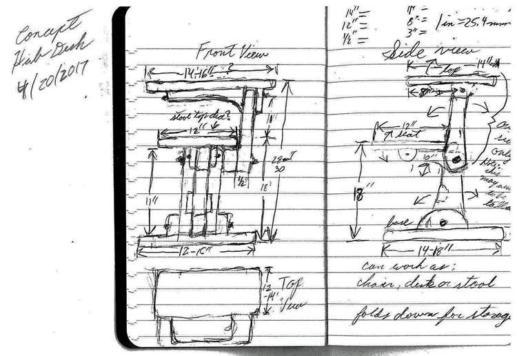 Hand-drawn sketch of an early concept for the desk