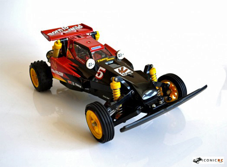 Tamiya Falcon RC car, shown in three-quarters profile view from the front