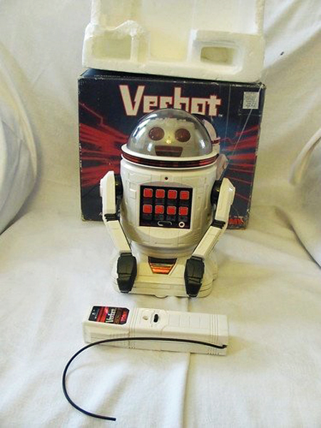Vintage Tomy Verbot programmable robot toy, 1984, with box, controller, and Styrofoam packaging