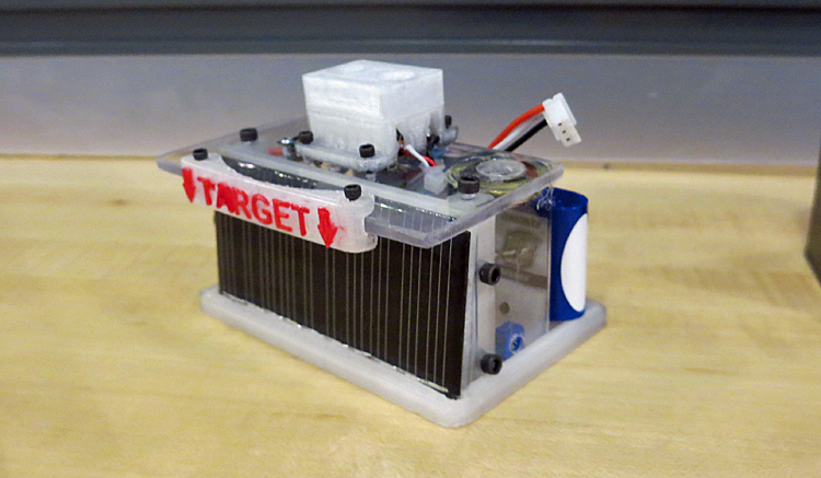 The second iteration of the target with a solar panel in place of the photoresistor