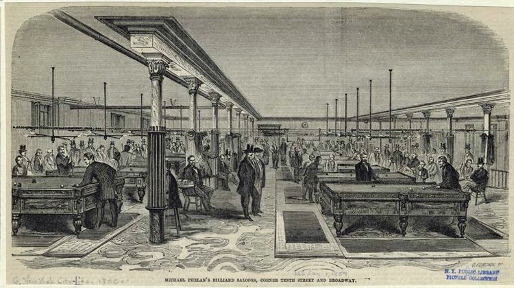 Engraving of at least 12 ornate billiard tables with well-dressed men playing the game. Other people are spectators. Caption on engraving identifies this as Michael Phelan's billiard saloons in New York City.