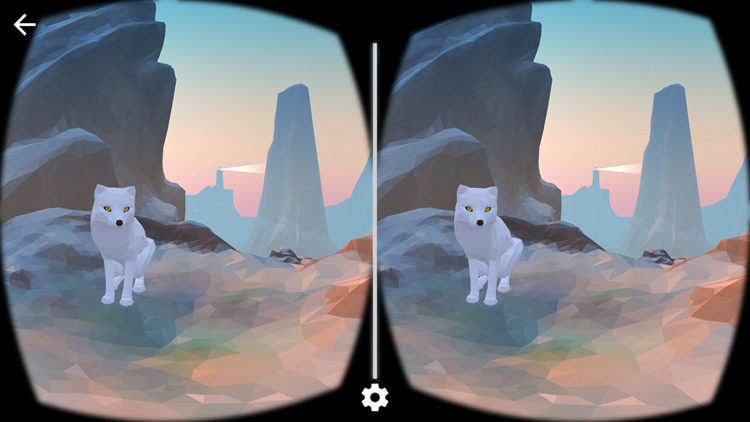 Dual computer-generated images of a stylized white fox against a desert and mountain background.