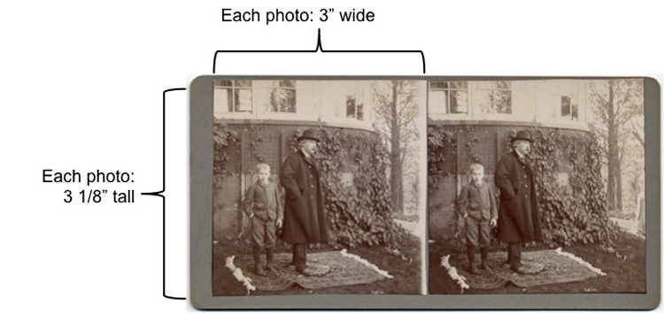 Stereo images of Mark Twain, wearing a hat and overcoat and smoking a cigar, standing beside a young boy wearing a suit, on a rug in front of an ivy-covered building. The individual images measure 3 1/8 inches tall and 3 inches wide.
