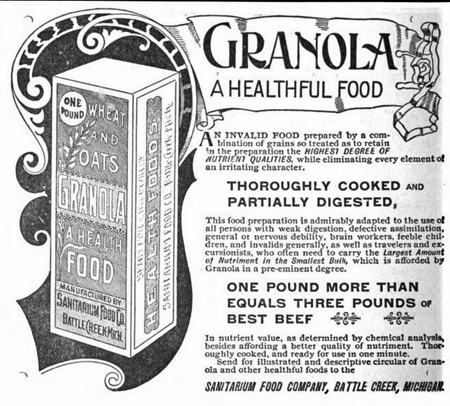 Line drawing advertisement for granola, 1893, boasting that granola is a healthful food, thoroughly cooked and partially digested!