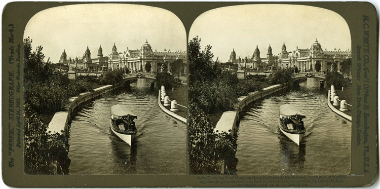 Stereograph comprising two photos of the lagoon at the 1904 World's Fair