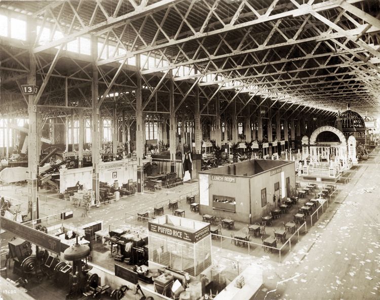 Overhead shot of the center of the Palace of Agriculture at the 1904 Worlds Fair with the Puffed Rice stand in the center foreground.