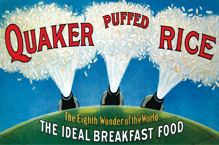 "An undated color drawing advertisement showing 3 cannons shooting out puffed rice and captioned, ""Quaker Puffed Rice. The Eighth Wonder of the World. The Ideal Breakfast Food."""