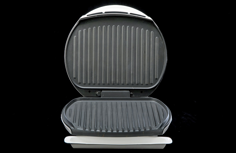 George Foreman Grill with lid open, about 1995