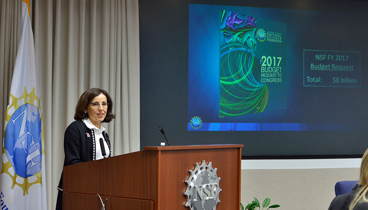 National Science Foundation Director France Cordova speaking at a podium, presenting FY17 budget, 9 February 2016