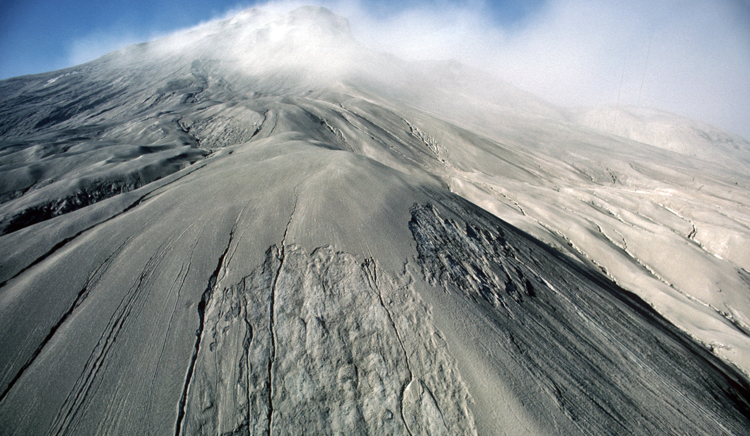 Aerial view of ash on Mount Saint Helens