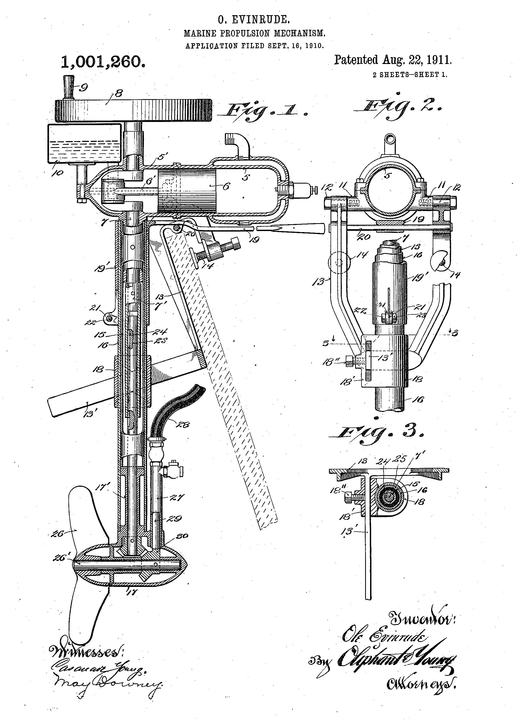 """Patent drawing for """"Marine Propulsion Mechanism"""" by Ole Evinrude."""