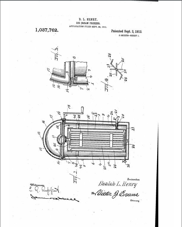 Patent drawing for a vacuum ice cream freezer. Beulah Henry, 1912.