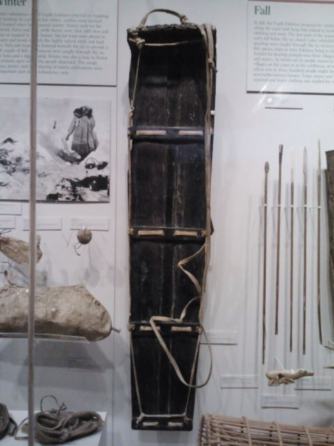 A native sled on view at the Anchorage Museum.