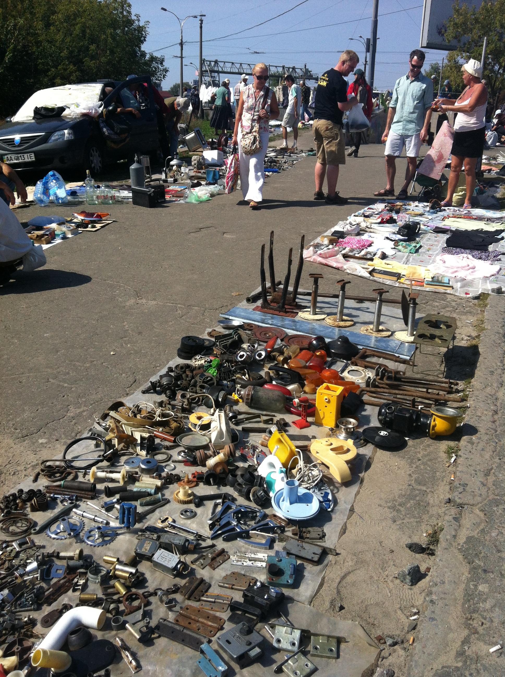 An outdoor bazaar in Ukraine.