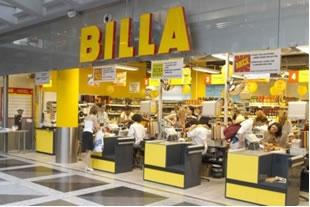 Entrance to Billa, a Ukrainian grocery store