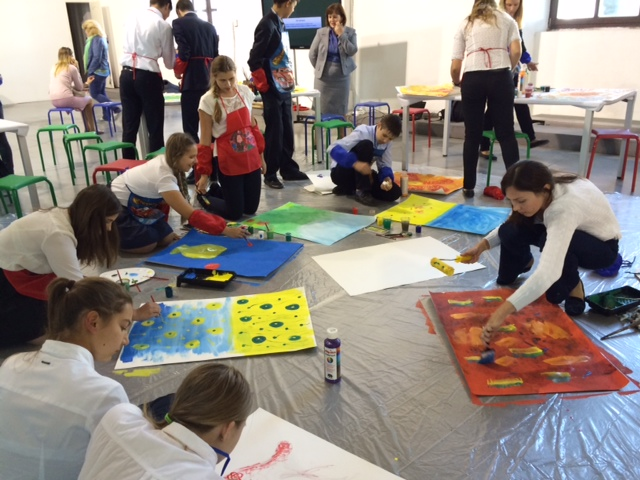 In advance of the festival, children attended painting workshops at Art Arsenal. Some of their artwork was featured at the event.