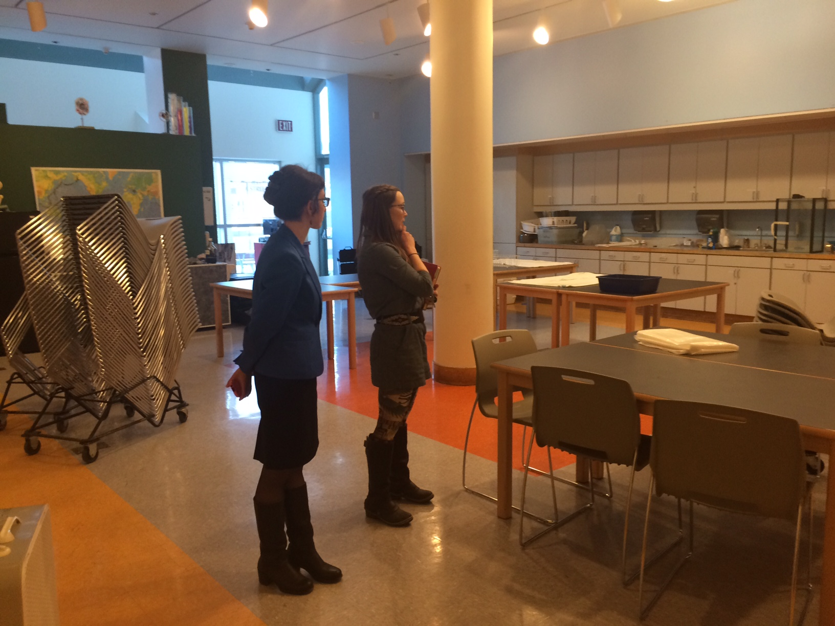 Lemelson Center staff tour the space being prepped for Spark!Lab at the Anchorage Museum.