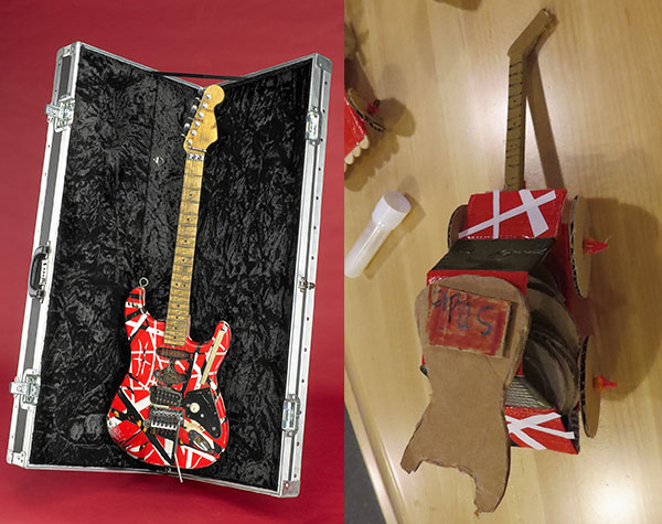 Left: Eddie Van Halen's Frankenstein guitar. Right: A vehicle made in Spark!Lab inspired by the Frankenstein guitar.