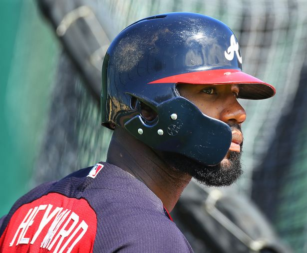 Jason Heyward of the Atlanta Braves wearing a plastic face guard