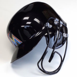 Florida Marlin's outfielder Giancarlo Stanton's new helmet with steel face guard