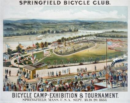 """Springfield Bicycle Club—Bicycle Camp—Exhibition and Tournament, Springfield, Mass, U.S.A., Sept. 18, 19, 20, 1883."" Color lithograph by Milton Bradley and Co., Springfield, Massachusetts."