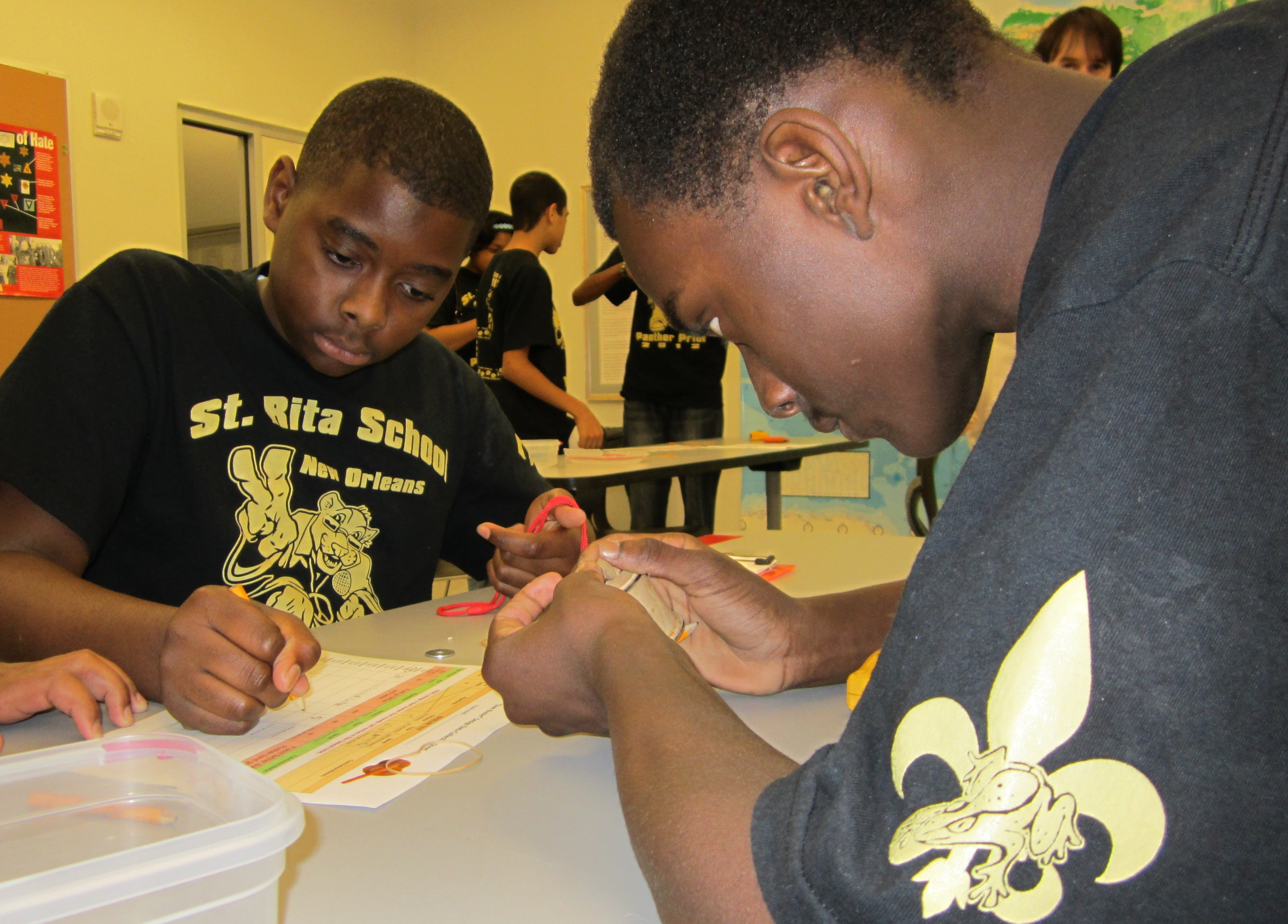 Students during The National WWII Museum's STEM Field Trip. Courtesy of The National WWII Museum