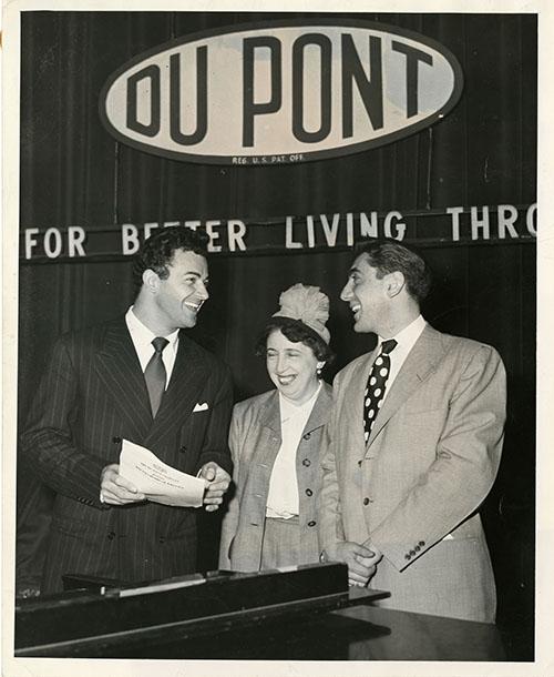[Photo of Joe Gerber, Bertha Gerber, and Cornell Wilde- Box 1 Folder 14]