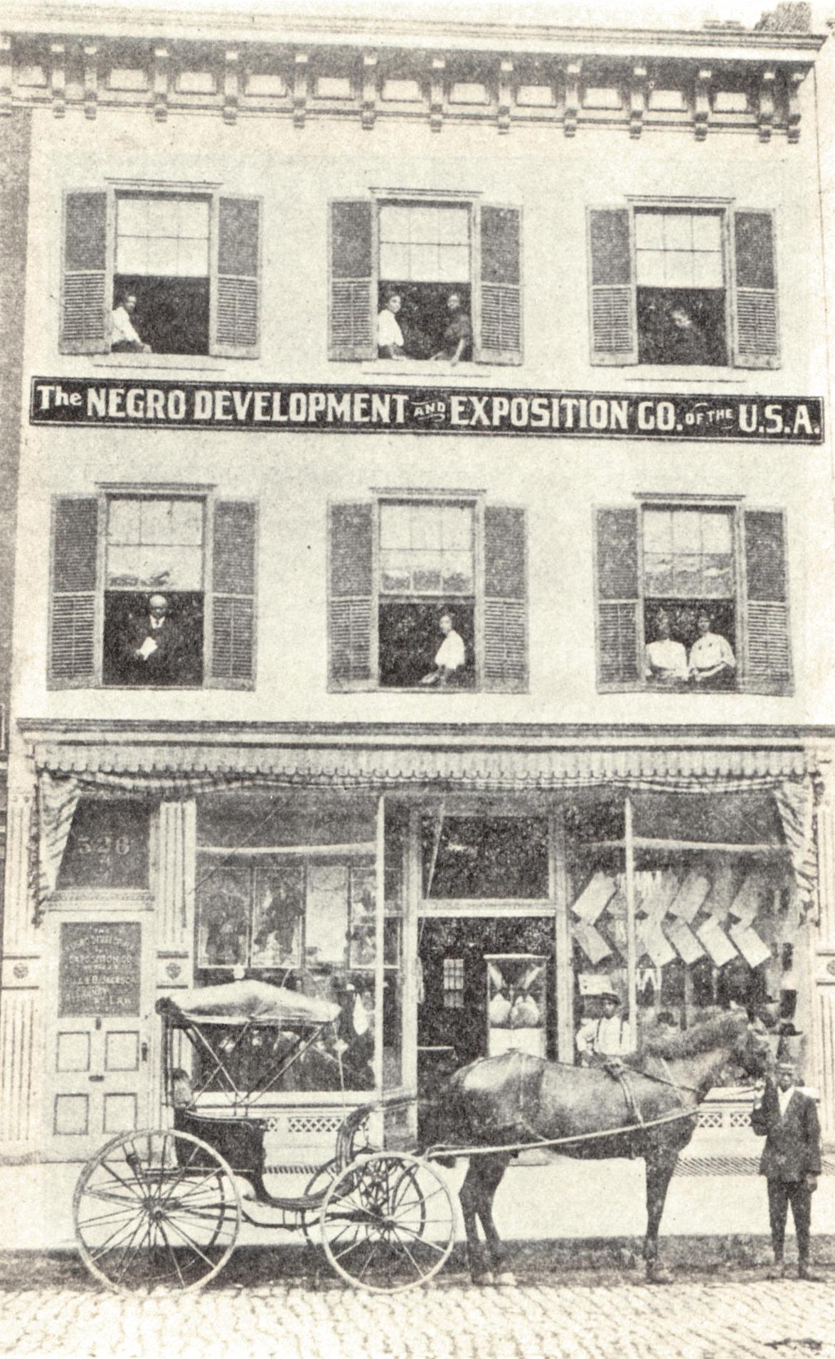 The Richmond headquarters for Jackson's Negro Development and Exposition Company, circa 1907.