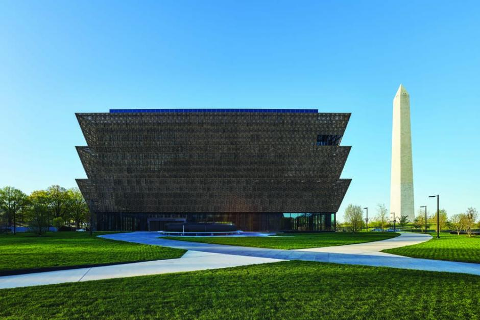 Vista of the Smithsonian's National Museum of African American History and Culture, from Constitution Avenue, looking across the north lawn to the Washington Monument, 2016.