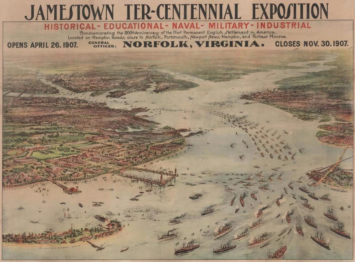 This 1907 lithograph by A. Hoen advertises the Jamestown Ter-Centennial Exposition in Norfolk, an event marking the 300th anniversary of the founding of the Jamestown colony by settlers from England.