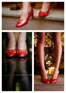 """Model wearing """"ruby slippers"""" made of sequins formed out of cola cans."""