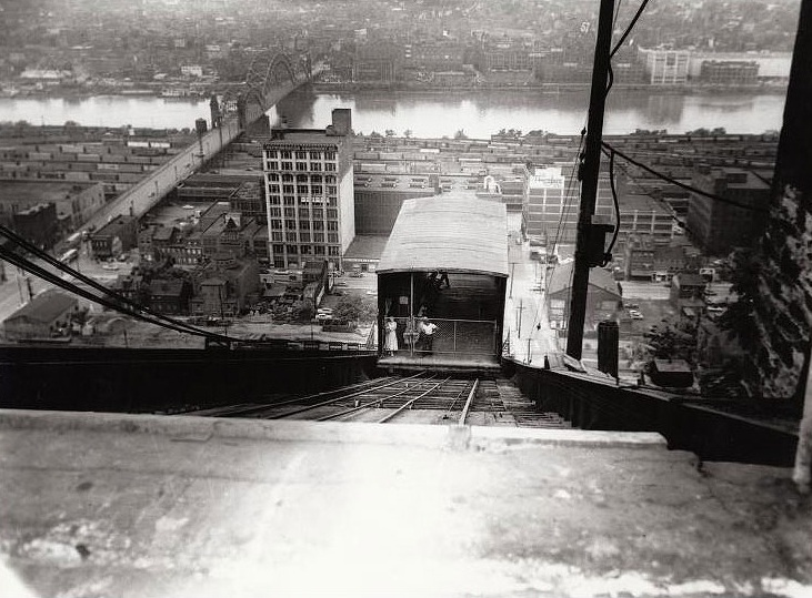 Archival photo of Penn funicular, gravity planes transported coal and people up and down the Hill to the Strip District.