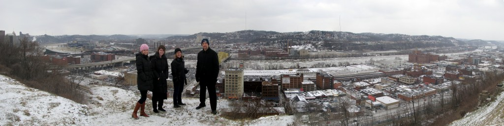 View of the Strip from the Hill: The Heinz History Center's Sandra Smith and Kate Lukaszewicz with the Smithsonian's Jennifer Brundage and YPA's Dan Holland. Remains of old funicular to the right. Allegheny River in the background.